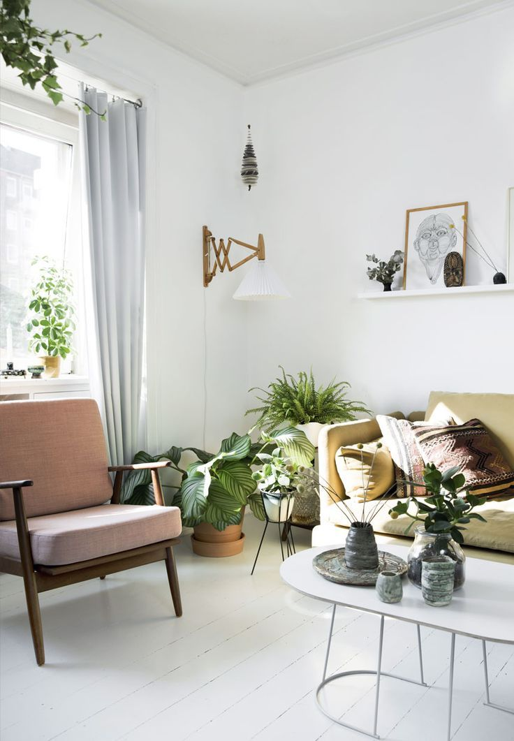 Beautiful Danish Modern, Retro, Houseplants, Wire Planter, Mustard Yellow Sofa,  Scandinavian Interior Great Ideas