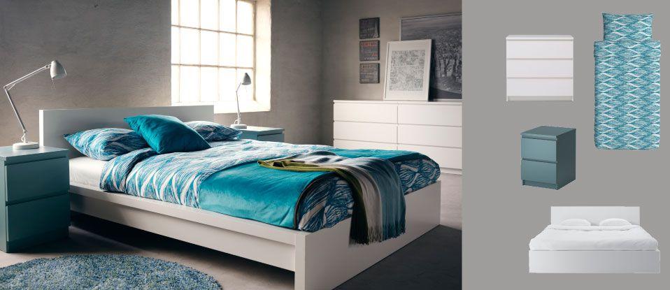 Valkoinen MALM-sänky, harmaanturkoosi ja valkoinen MALM-lipasto ja turkoosit MALIN BLAD -pussilakanat