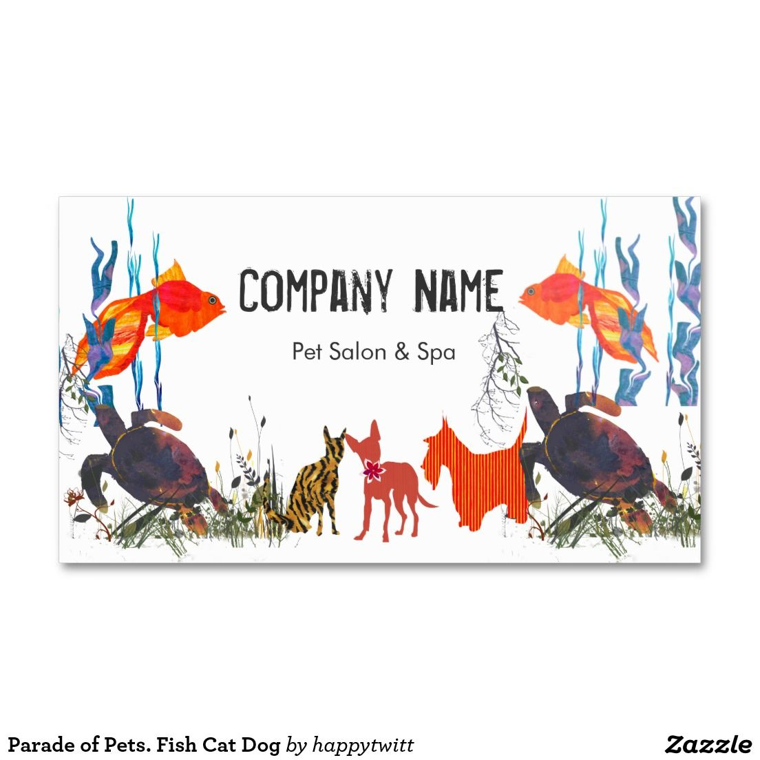 Parade of pets fish cat dog double sided standard business cards business cards reheart Image collections