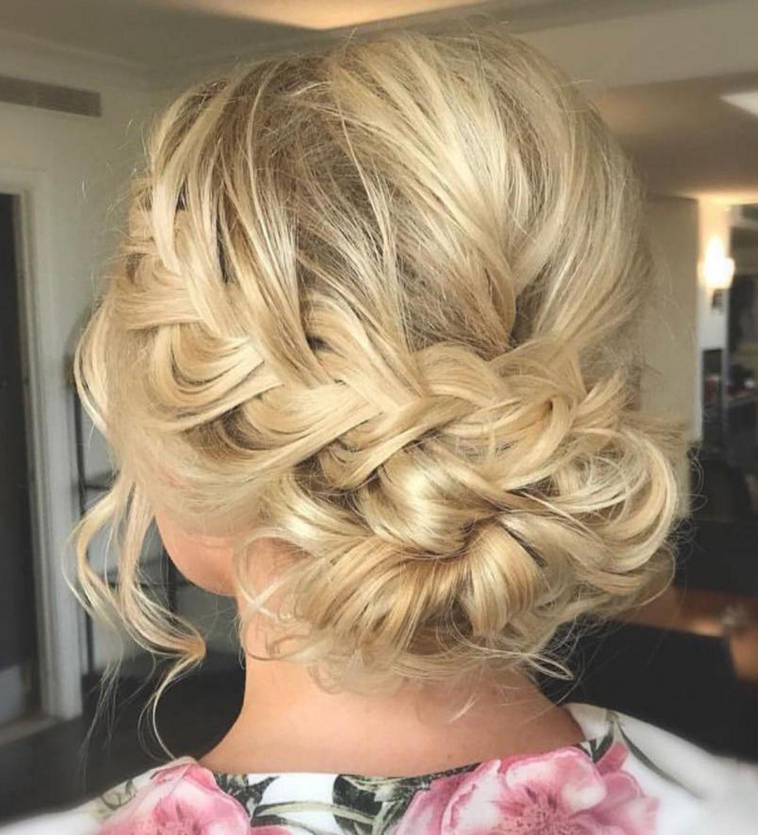 Low Updo With A Braid Medium Length Hair Styles Updos For Medium Length Hair Hair Lengths