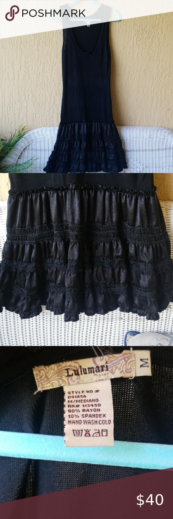 Black Dress With Ruffle Bottom Sz M Clothes Design Black Dress Dresses [ 1740 x 580 Pixel ]