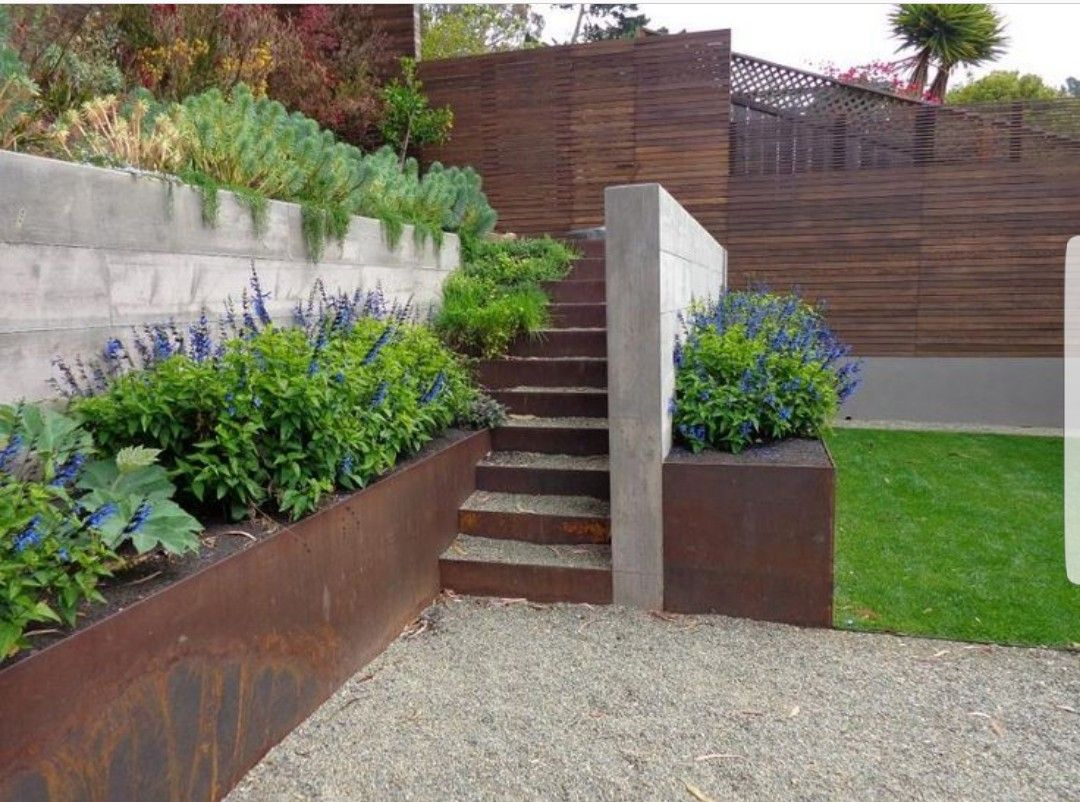 Corten steel retaining walls | Landscaping | Pinterest ...