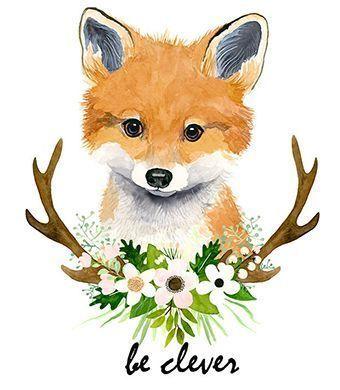 Aquarell Fuchsjunges Baby Fuchs Tiermalereien Fuchs Wald