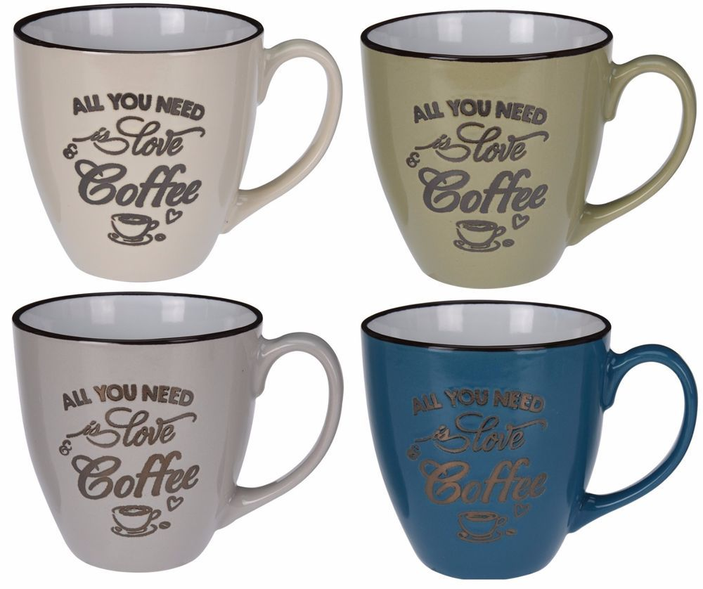 Set Of 4 Mugs Extra Large Coffee Mugs Cocoa Mugs Soup Cups Retro