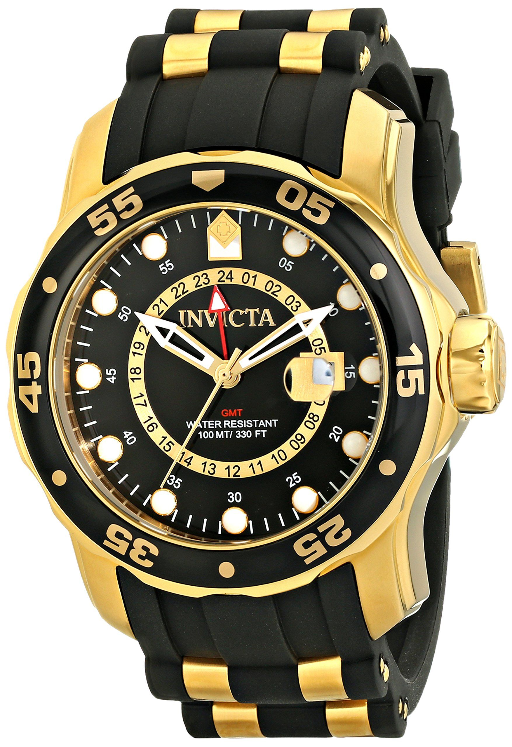 Invicta Men's 6991 Pro Diver Collection GMT 18k Gold-Plated Stainless Steel Watch with Black Band. Rugged watch featuring multifunction dial with magnified date window, GMT time, and luminosity. 48 mm stainless steel case with mineral dial window. Swiss quartz movement with analog display. Polyurethane band with buckle closure. Water resistant to 100 m (330 ft).