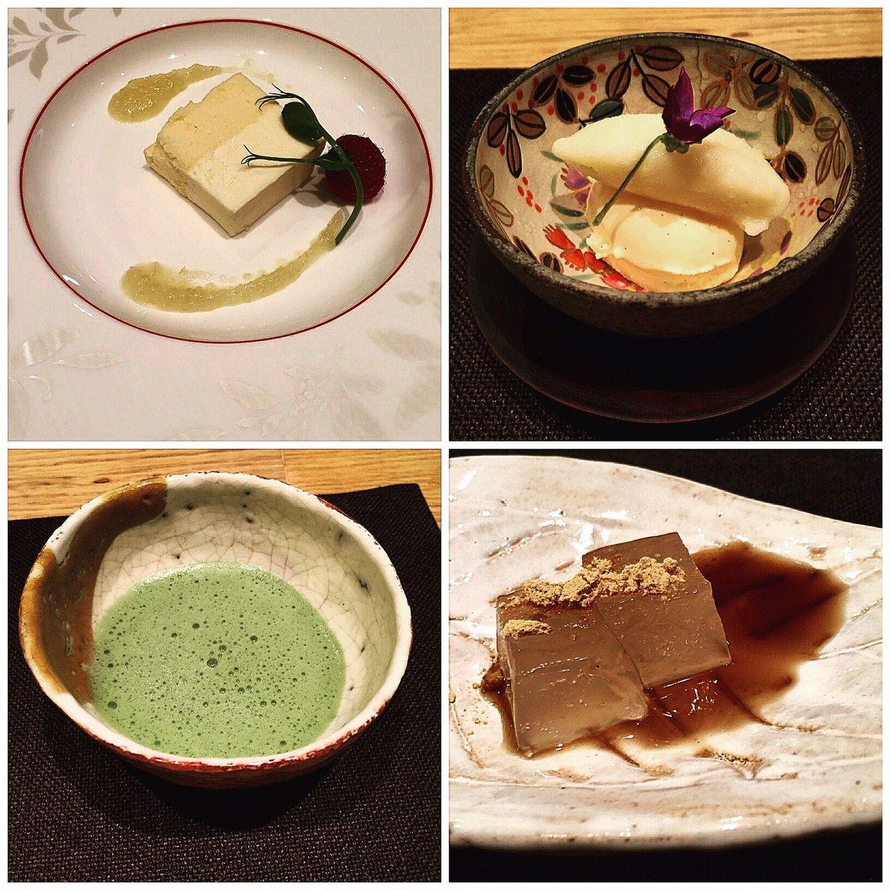 Kanazawa_As sobremesas da Kayo: cheesecake com puré de casca de limão; gelado de baunilha com sorbet de goiaba branca, macha e warabi mochi (gomas