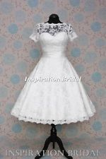 1521 short Tea Length knee lace wedding dress cap short sleeves vintage 11.5
