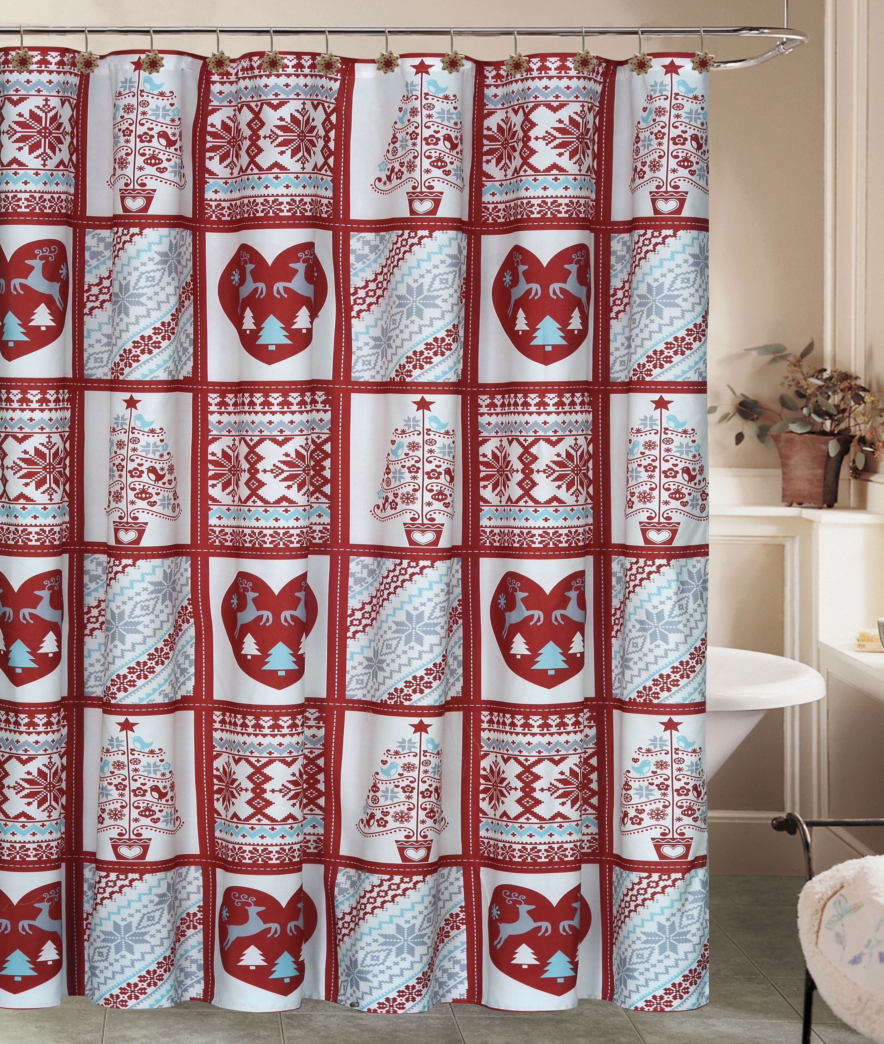 Beatrice Christmas Holiday Fair Isle Snowflake Shower Curtain With 12 Resin Hook Rings Bathroom Set