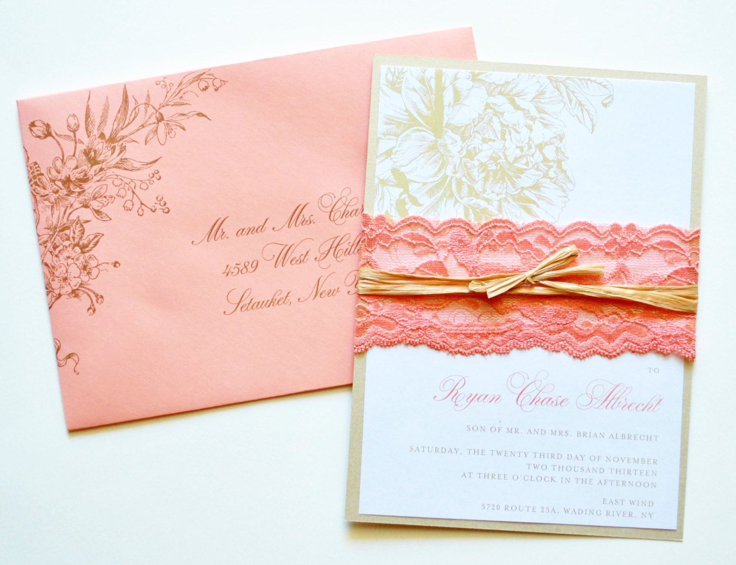 Coral Wedding Invitations Lace By WhimsyBDesigns