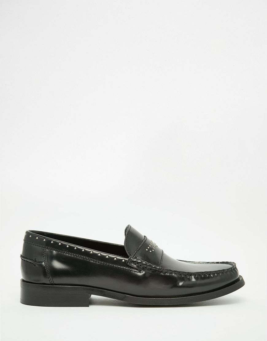 Image 2 of ASOS Penny Loafers in Black Leather With Stud Detailing
