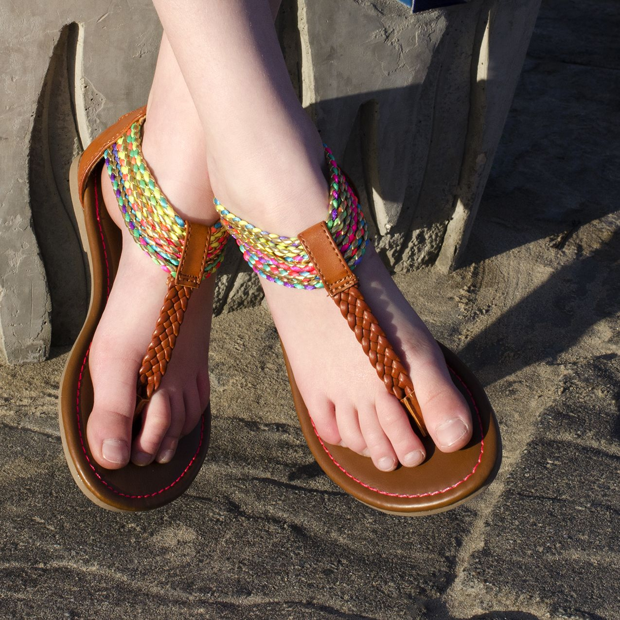 Girls' Colorful Ankle Zip Sandal