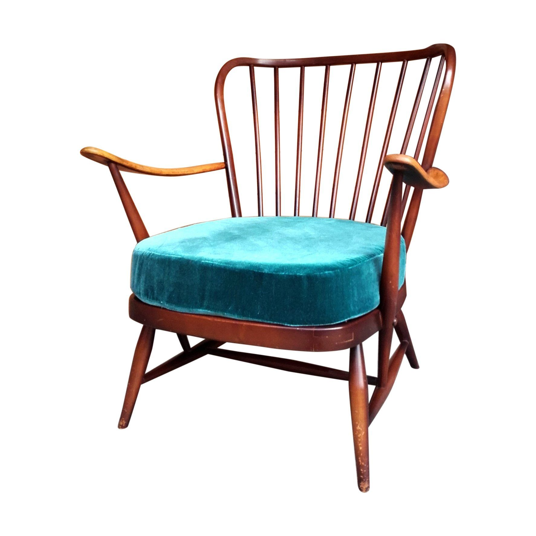 Gorgeously Curvy Ercol Model #477 Easy Chair