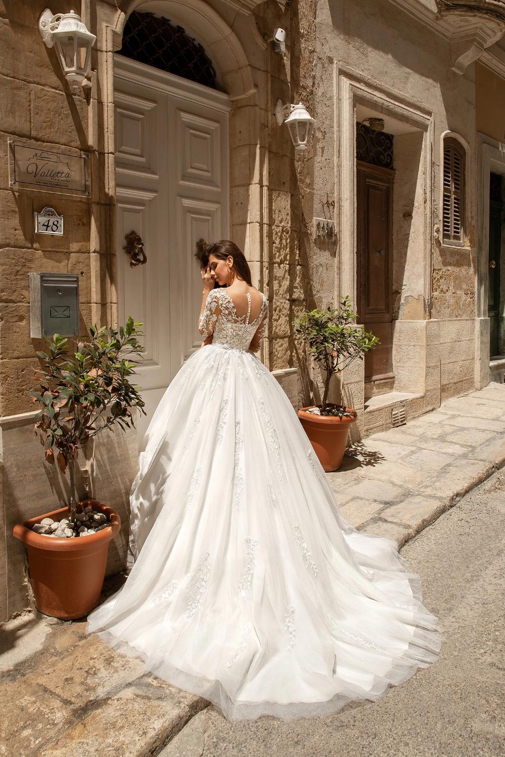 Mandy long sleeve ivory lace organza ball gown wedding dress – KC ...