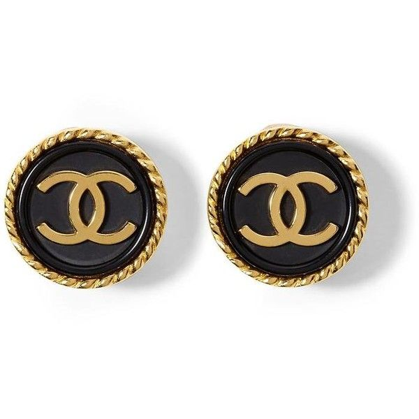 Luxe Vintage Finds Chanel CC Button Earring found on Polyvore