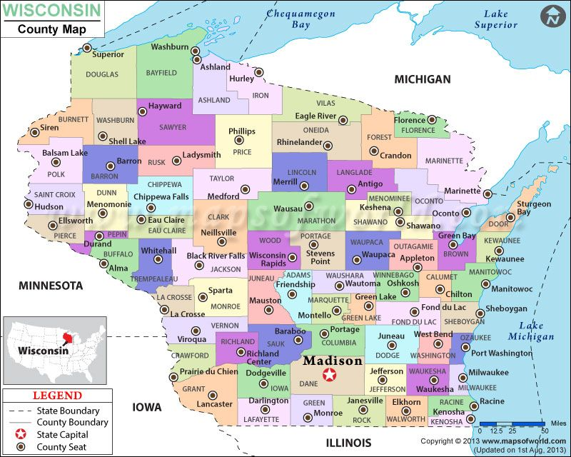state of wisconsin map with counties Look At The Detailed Map Of Wisconsin County Showing The Major