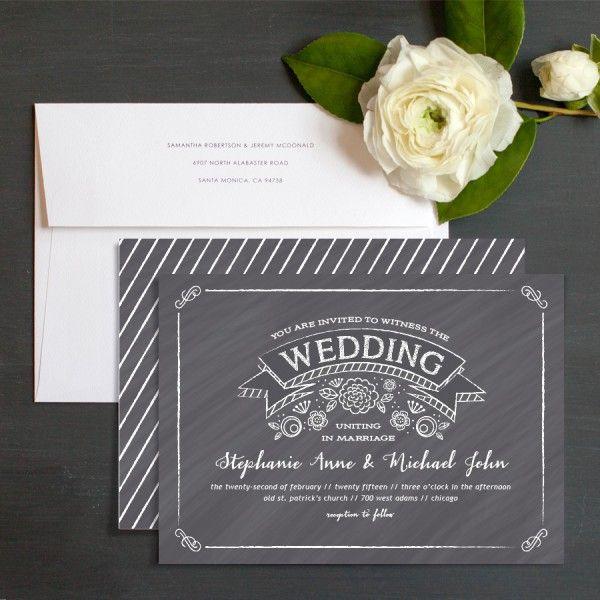 Chalkboard Banner Wedding Invitations By Elizabeth Victoria Designs