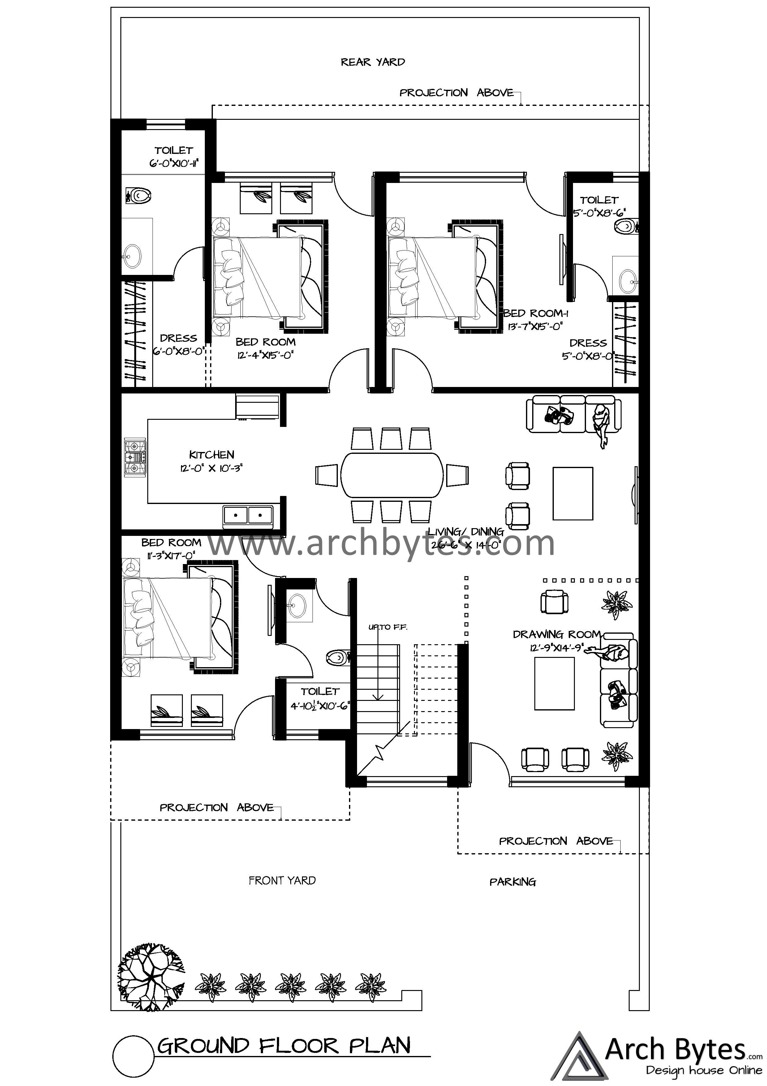 House Plan For 40x75 Feet Plot Size 333 Square Yards Gaj House Plans How To Plan Ground Floor Plan