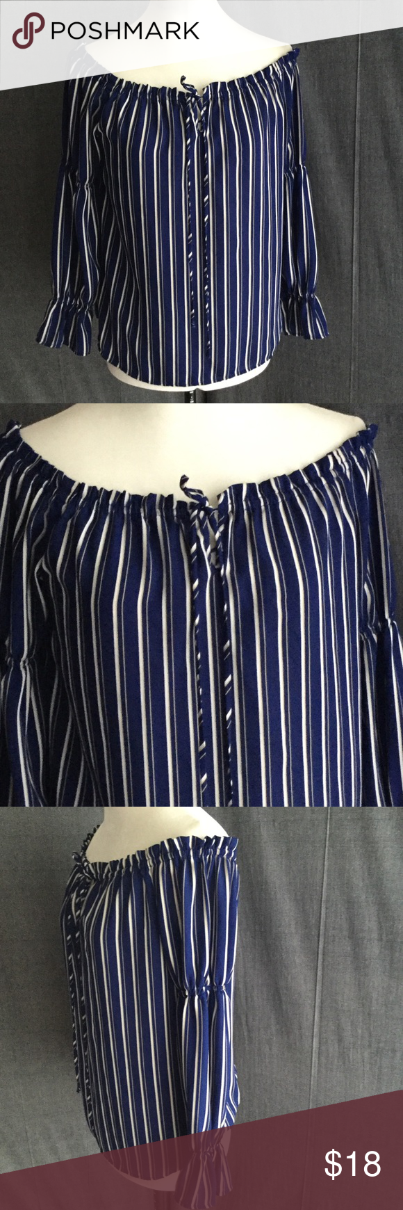 WAYF Indigo Blue & White Off Shoulder Top sz XS Great off should top by WAYF. Gorgeous shade of indigo blue with white and light tan vertical stripes, gathered top with pull string closure. Gently loved but looks brand new and never worn.  Size XS See photos for material and care instructions.   OAK.0137 Wayf Tops Blouses