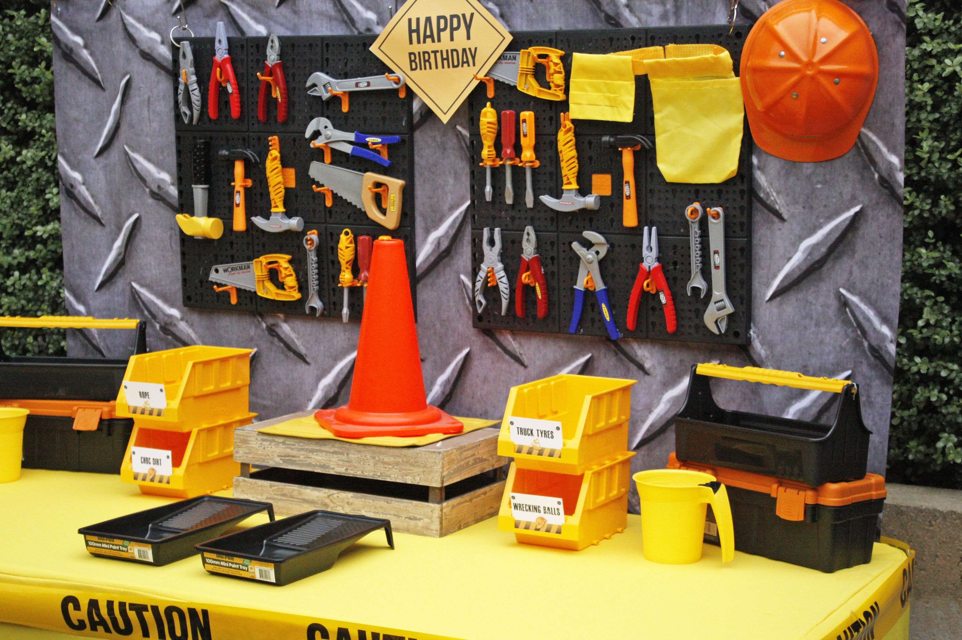 Peg Board And Tools Decoration For Construction Party