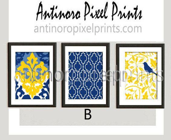 Yellow Navy Blue Ikat Bird Wall Art Prints - Set of (3) Prints - Custom Colors Available (UNFRAMED)