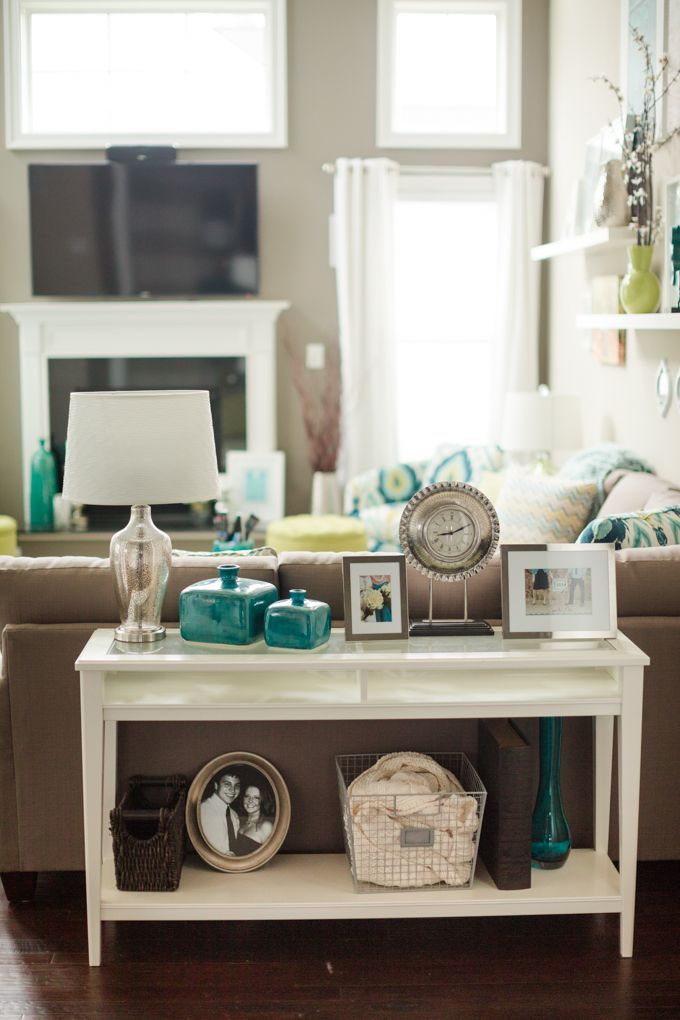 Katelyn James Photography Sofa Table Decor Teal Living