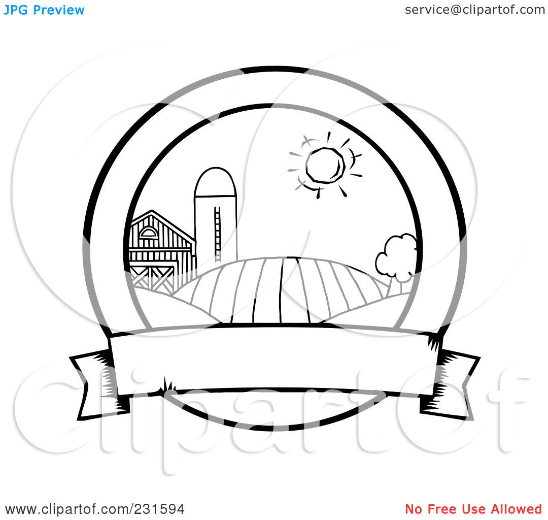 Royalty Free RF Clipart Illustration Of A Coloring Page Outline Farmland With Blank BannerPalm