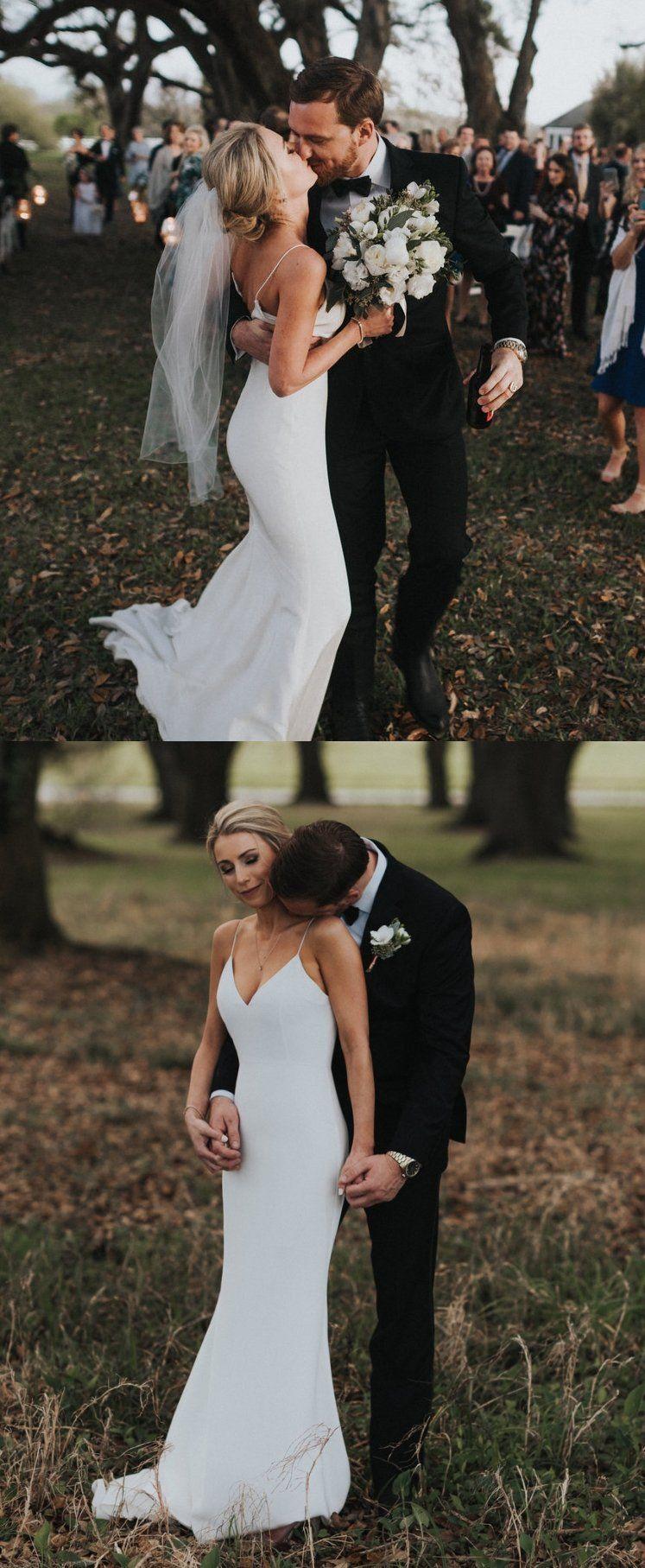 Spaghetti straps memraid backless satin chiffon white vneck wedding