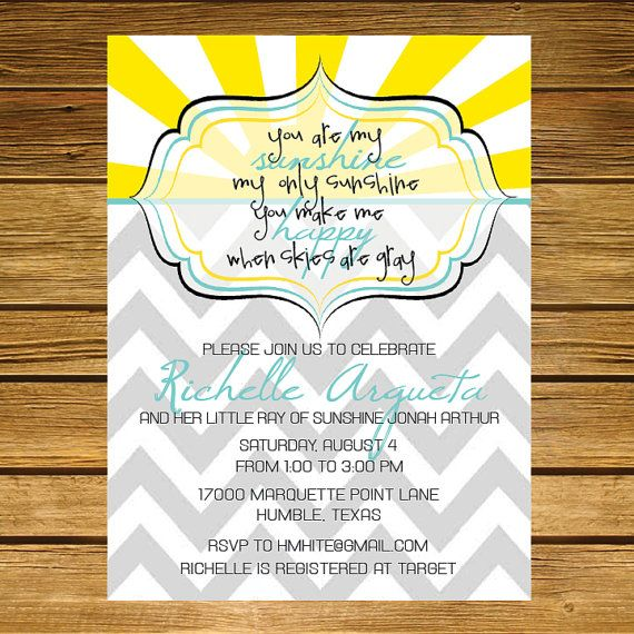 You Are My Sunshine Baby Shower Invitation    Chevron, Teal, Yellow, Pink