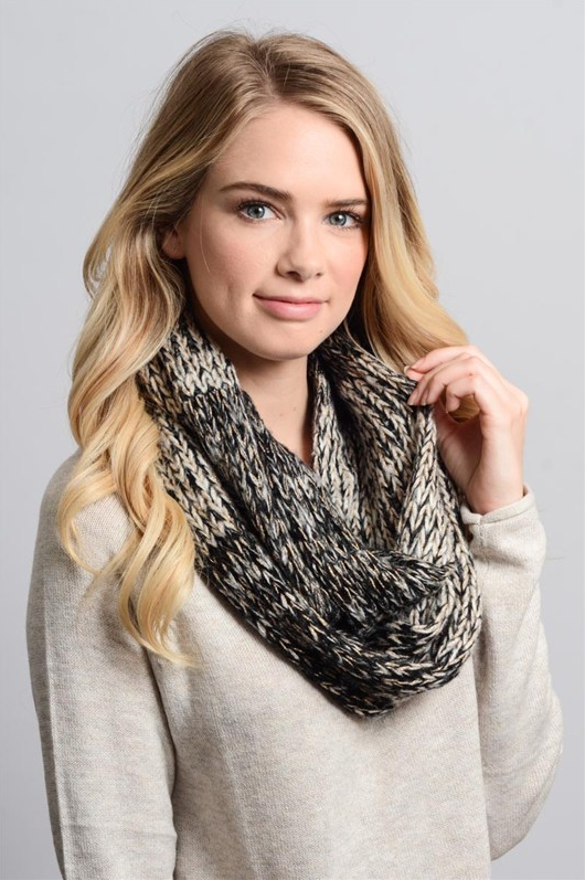 Marble Infinity Scarf With Gold Lurex