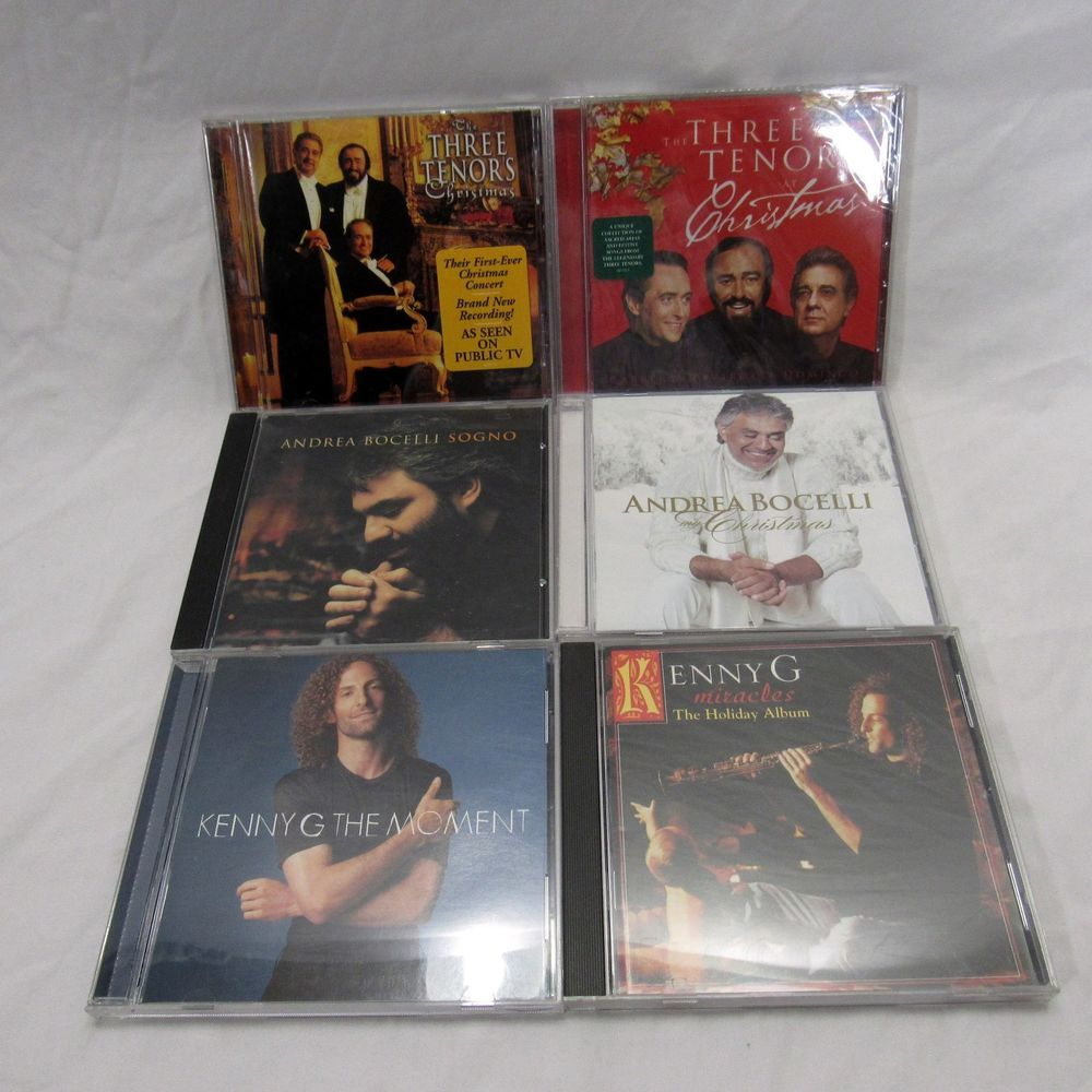 Lot of 6 CDs Three Tenors Christmas Andrea Bocelli Kenny G Holiday ...