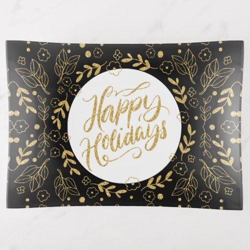 Happy Holiday Typography Gold Leafs Frame Trinket Trays