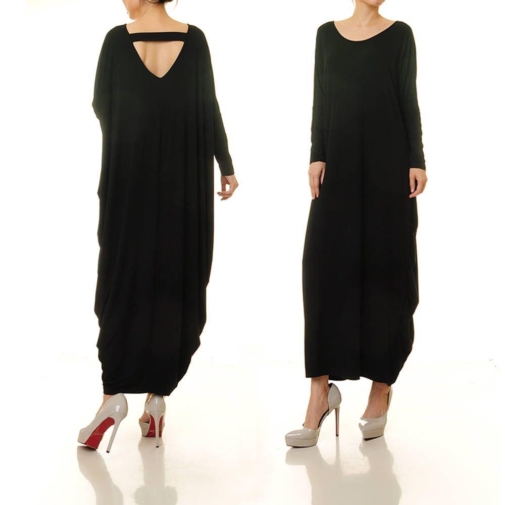 Black kaftan dress oversize dress plus size kaftan long black