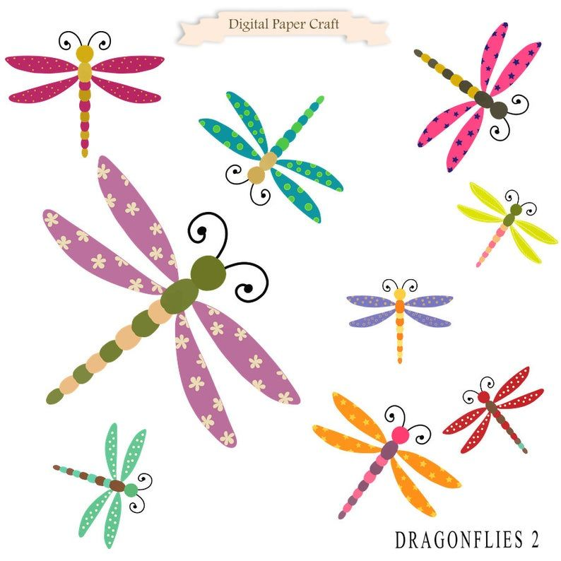 Dragonfly Clipart Dragonflies Clipart Instant download | Etsy