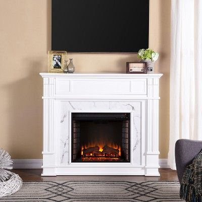 Highpoint Faux Cararra Marble Electric Media Fireplace White