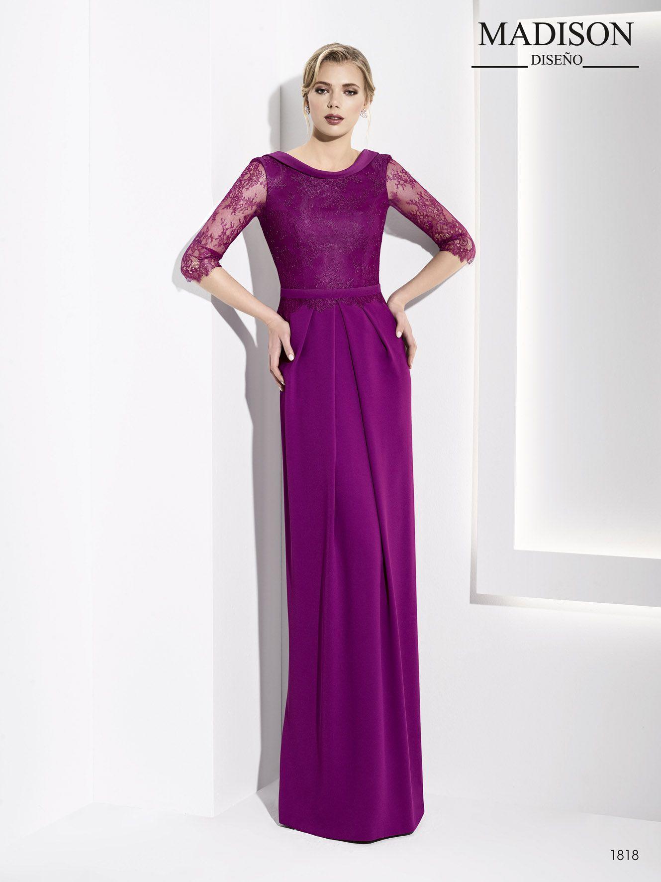 vestido largo fiesta color morado | dantel | Pinterest | Vestido ...