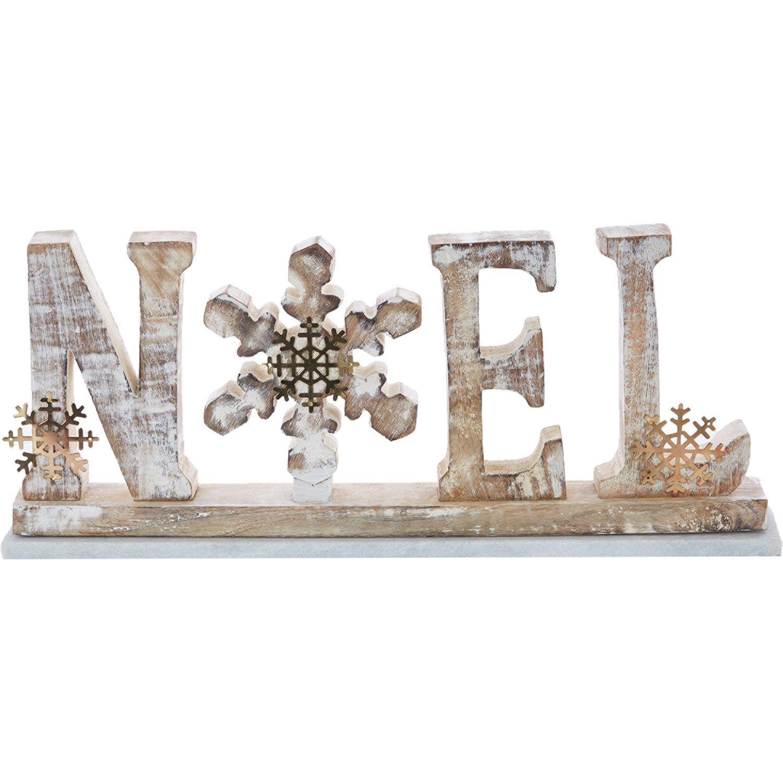 Wooden & Marble Noel Ornament - TK Maxx