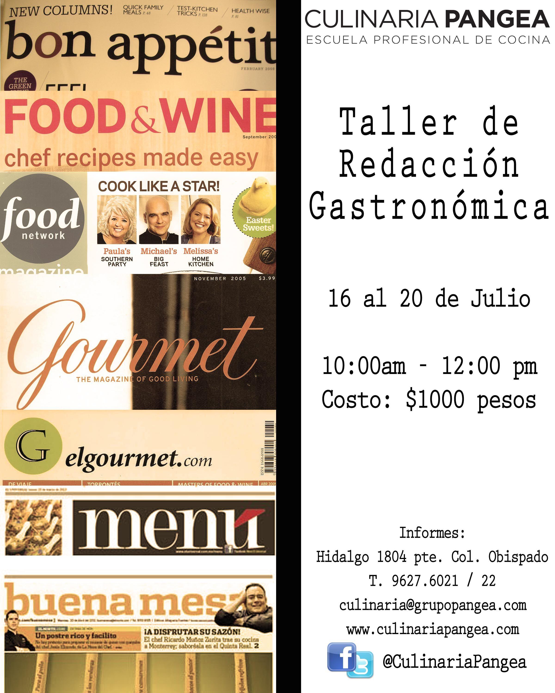 Taller de Redacción Gastronómica / 16 al 20 de Julio / Culinaria Pangea