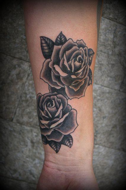 Classic Rose Tattoo : classic, tattoo, Classic, Black, White, Tattoo,, Tattoos,, Flower, Tattoo