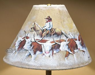 Painted Leather Lamp Shade Cowboy Cattle Drive 15 Pl13 Painting Leather Lamp Shade Shabby Chic Lamp Shades