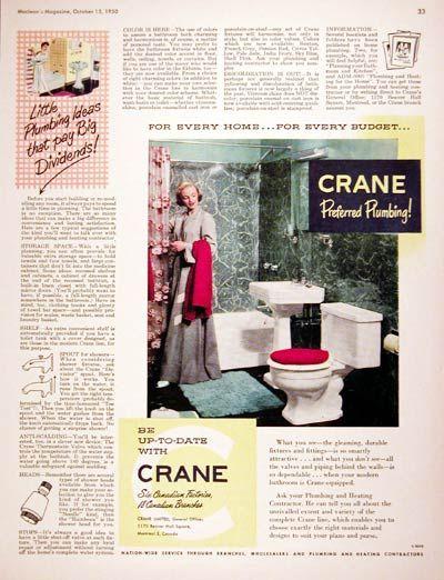 1950 crane bathroom fixtures original vintage ad ...
