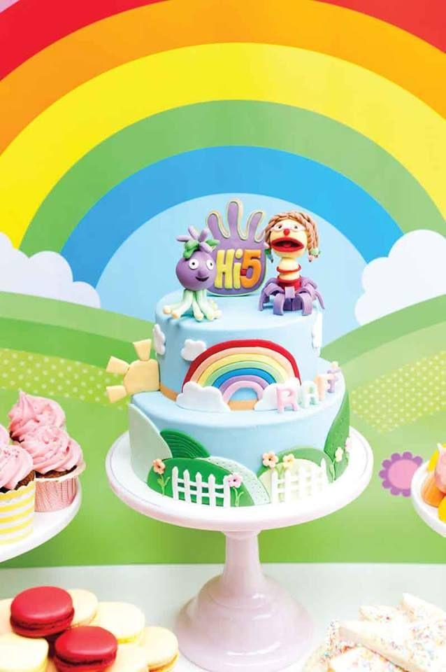 Girls Rainbow Birthday Hi 5 Cake 5th Party Ideas Third