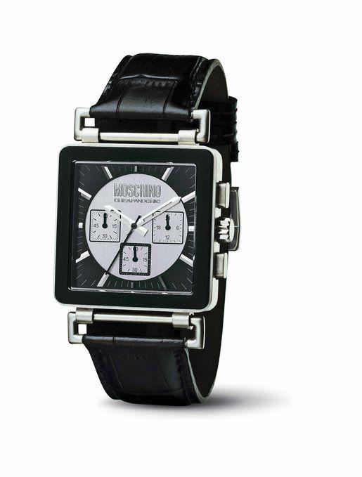 Moschino MW0064 - Reloj de caballero de cuarzo, correa de piel color negro