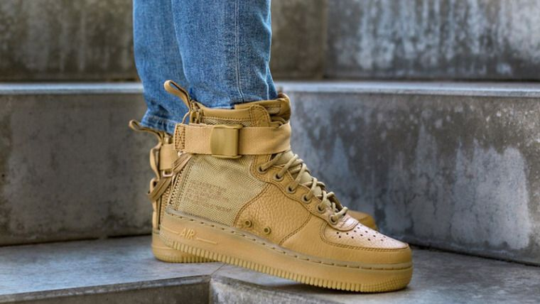 newest 62982 beb79 NIKE SF AIR FORCE 1 MID W ELEMENTAL GOLD SNEAKERS IN ALL ...