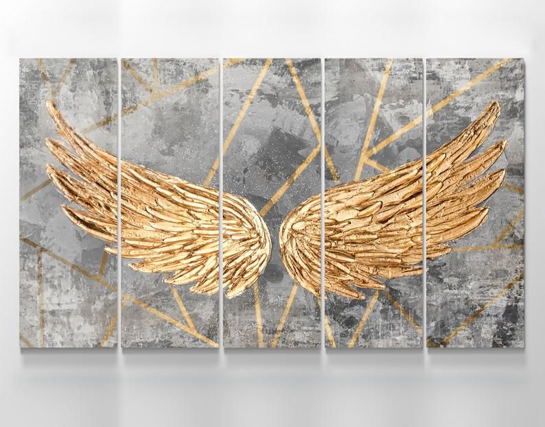 Angel Wings Wall Decor Canvas Gold Angel Wings Wall Art Etsy In 2020 Angel Wings Wall Decor Angel Wings Wall Art Angel Wings Wall