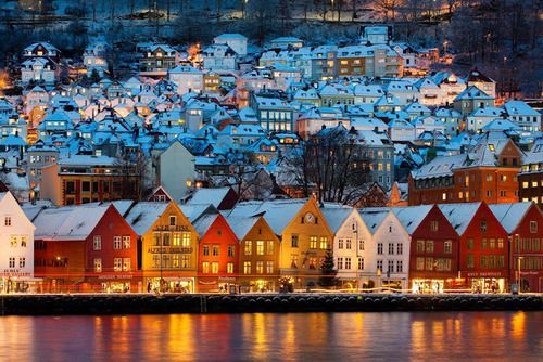 Bryggen In Bergen.  mj: Been to Oslo - really still want to see Bergen. And the town of Risor, where my Mother's mother, Thenny Holth, was born.