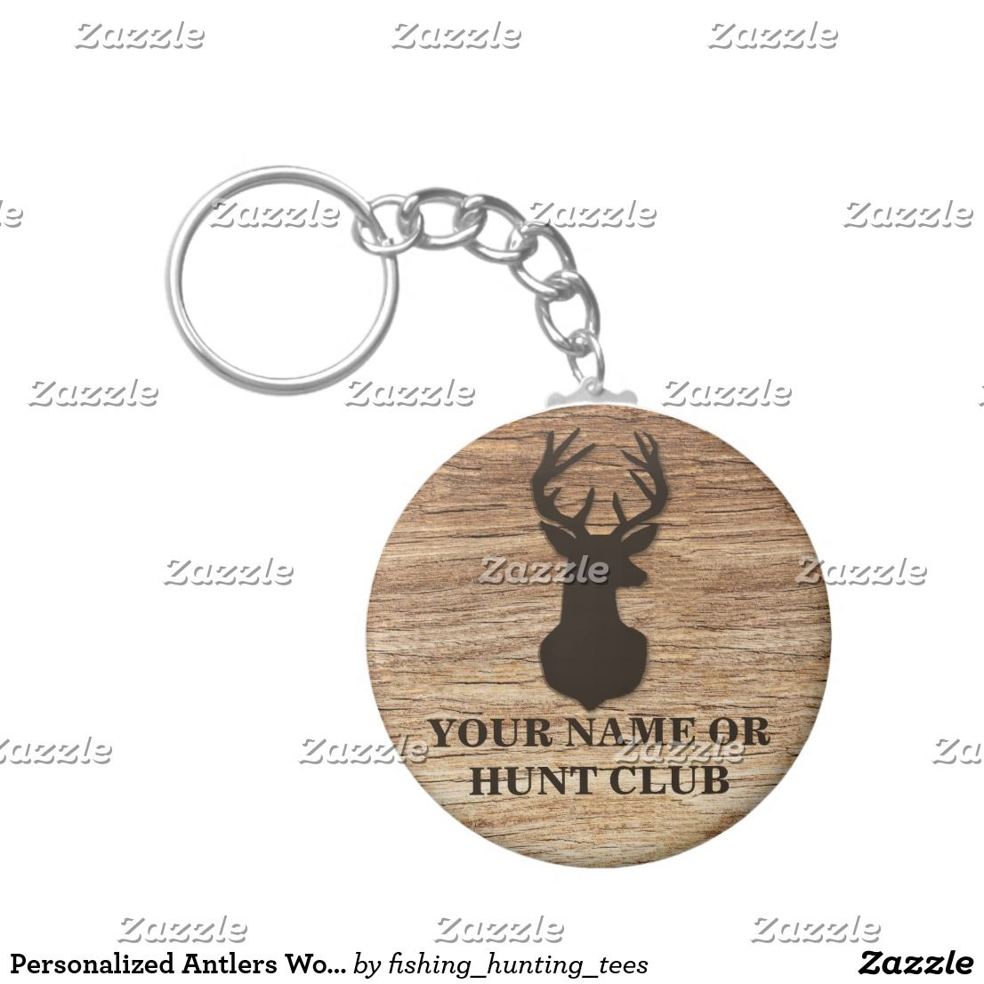 Personalized Antlers Wood Rustic Country Buck Head