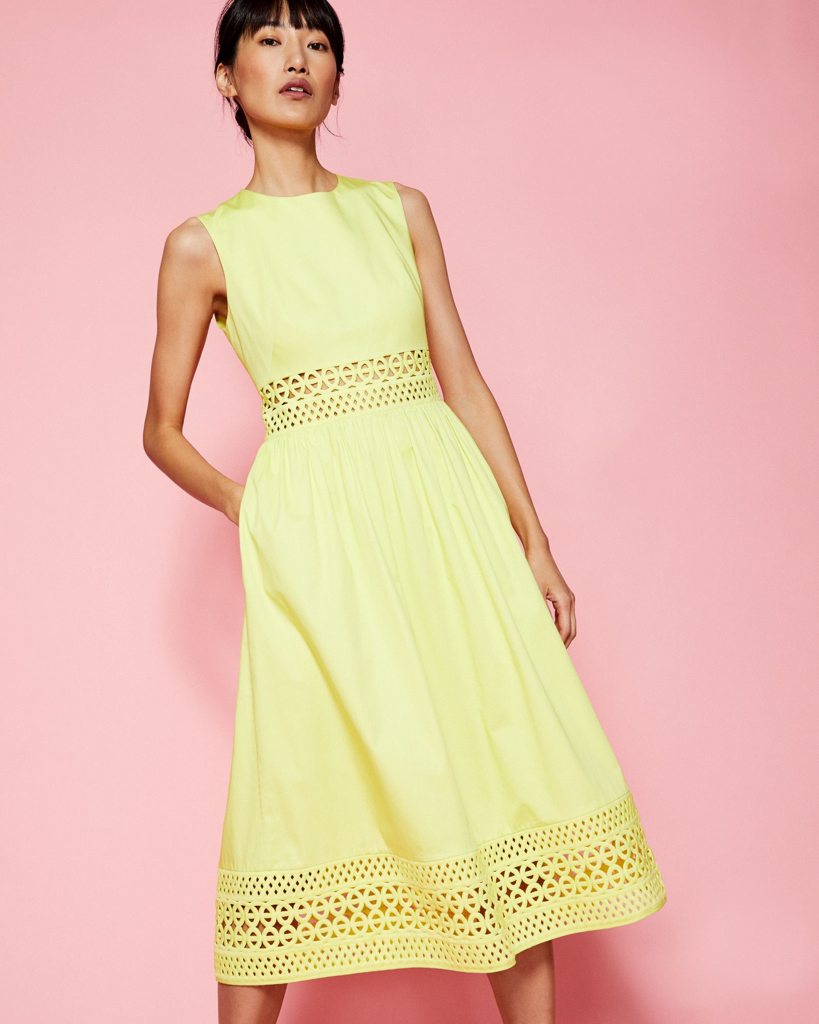 Cut-out lace cotton dress - Mid Green | Dresses | Ted Baker UK ...