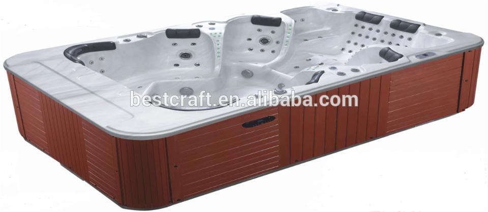 Factory supply deluxe outdoor rectangular swim spa, pop-up tv swim spa 8 - 12 person hot tub
