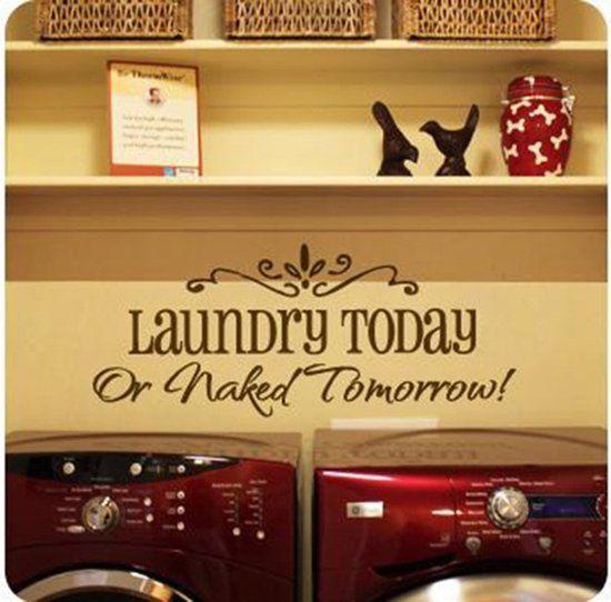 Muursticker tekst 'Laundry today' 24x58