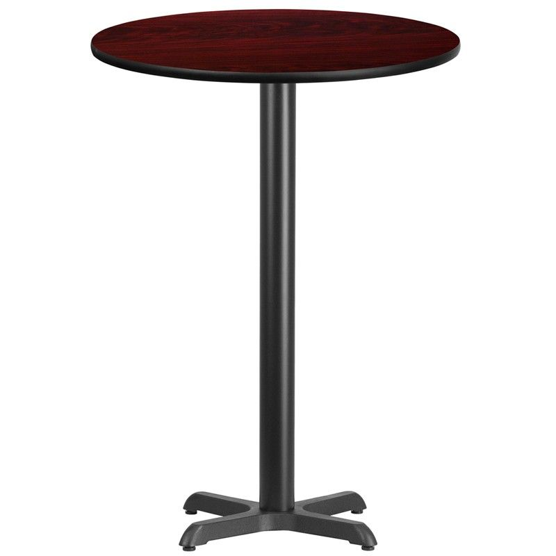 Merveilleux 30u0027u0027 Round Laminate Table Top With 22u0027u0027 X 22u0027u0027 Bar Height Table Base